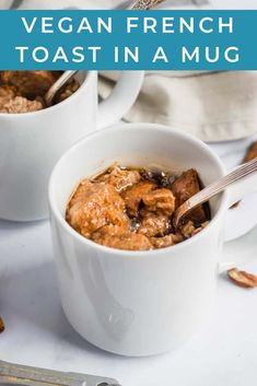 No eggs? No problem! This Easy Vegan French Toast cooks up in a mug in just two minutes! Even if you are short on time, you can still enjoy this delicious and simple cinnamon French Toast recipe! #vegan #breakfast #frenchtoast #veganfrenchtoast #cinnamonfrenchtoast #mugrecipe