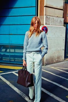 Try pairing a grey oversized sweater with grey dress pants to create a chic, glamorous look.  Shop this look for $61:  http://lookastic.com/women/looks/grey-oversized-sweater-grey-dress-pants-burgundy-leather-tote-bag/6509  — Grey Oversized Sweater  — Grey Dress Pants  — Burgundy Leather Tote Bag