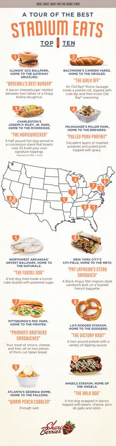 A Tour of the Best Stadium Eats   #infographic #Food #Sports