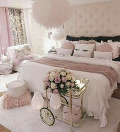 Bedroom Decorating Ideas – Creative bedroom decorating with an unusual bed adds interest to your room, helps personalize your home and create unique living space. A bedroom is a coziest place… Cute Bedroom Ideas, Girl Bedroom Designs, Awesome Bedrooms, Girls Bedroom, Bed Designs, Bedroom Inspiration, Rich Girl Bedroom, Pink Bedroom Design, Bedroom 2018