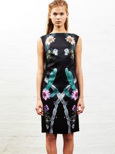 SARA PHILLIPS - Keira Dress - High Neck - Black Cactus Flower Print  $395.00