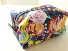 Blue floral large makeup bag by SouthernPursesuits on Etsy