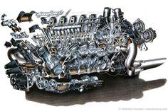 Automotive Illustration of a Honda McLaren Formula One Engine by Inomoto Technical Illustration, Technical Drawings, Car Illustration, V12 Engine, Mclaren F1, Race Engines, Indy Cars, Cutaway, Formula One