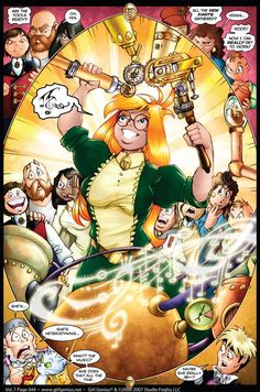 The mad scientist sets down to work on the coffee machine, with a crowd of dangerous assistants gathered. Agatha Heterodyne - Girl Genius - The grandmother of steampunk comics