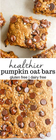Recipes Breakfast Bars These healthy pumpkin oat bars are the perfect recipe to make for a simple breakfast or easy snack! Made with whole wheat flour and chocolate chips or raisins for extra sweetness. Healthy Recipes, Healthy Baking, Healthy Treats, Healthy Desserts, Baking Recipes, Delicious Desserts, Rice Recipes, Whole30 Recipes, Healthy Oat Bars