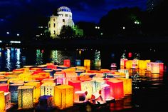 Toro Nagashi is a Japanese local event in which participants float toro or chochin (paper lanterns), and offerings down a river. This is primarily done during the obon season based on the belief that this guides the spirits of the departed,