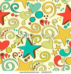 vector seamless texture with hand drawn stars, hearts and swirls by ghouliirina, via Shutterstock