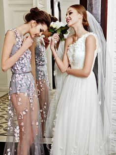 Left to right. Ira: dress mesh, embroidered with beads and sequins, cotton bodysuit, a belt of metallic leather, all Yanina Couture; earrings in rose gold with quartz and diamonds, Dior Joaillerie; Soleil ring in white gold with diamonds, Chanel Joaillerie.   At Cordelia dress and veil of tulle, all Pronovias.