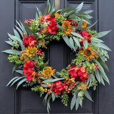 Rosalind Wheeler Autumn Hydrangea and Sunflower Wild Eucalyptus Berry Front Door Fall Silk Wreath Autumn Wreaths For Front Door, Fall Wreaths, Rustic Wreaths, Thanksgiving Wreaths, Red Hydrangea, Sunflower Wreaths, Birch Lane, Wreath Ideas, Diy Wreath