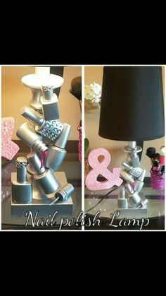 Must make this!!! Amazing DIY nail polish lamp. Empty bottles ✔ Hot glue ✔ Spray paint ✔ Off to Goodwill to find the perfect lamp...