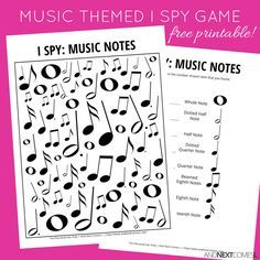 Music Notes Themed I Spy Game {Free Printable for Kids} Free music themed I spy printable for kids Music Activities For Kids, Music Lessons For Kids, Free Games For Kids, Music For Kids, Fun Music, Singing Lessons, Violin Lessons, Singing Tips, Preschool Music Lessons