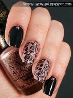Black Roses Featuring OPI Make Him Mine and MoYou Stamping
