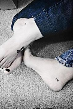 Small Couple Tattoo on Foot. Like the placement!