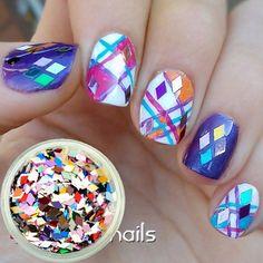 Mixed Color Diamond Design Glitter Powder Sheets Tips Nail Art Decoration