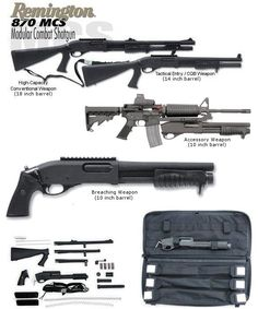 ) Model 870 MCS Modular Combat Shotgun<br>with 10 inch, 14 inch and 18 inch barrels<br>(rental only) Weapons Guns, Guns And Ammo, Combat Shotgun, Tactical Shotgun, Remington 870 Tactical, Tactical Gear, Fire Powers, Cool Guns, Firearms