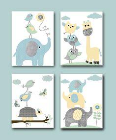 Elephant Wall Art Giraffe Wall Art Gray Blue Yellow Mint Canvas Baby Nursery Prints Kids Art for Children Baby Room Decor set of 4 /