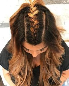 Try these 35 easy braid styles, no crazy braiding skills necessary. A simple French braid down the middle and into a ponytail is such a cute look. It's a fun way to switch it up for people who love a good half-up hairstyle. #hairstyle #hairideas #braids