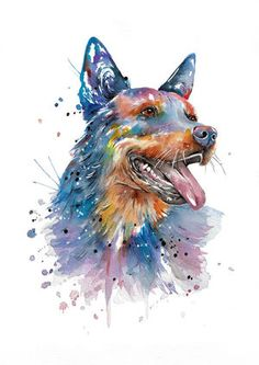 This lovely cattle dog is full of character and is done in colourful but slightly more subtle palette.This piece is now part of my 'dog' series which I am slowly adding to over time. Perro Blue Heeler, Blue Heelers, German Shepherd Tattoo, Dog Rules, Labrador Retriever Dog, Bull Terrier Dog, Dog Paintings, Australian Cattle Dog, Dog Art