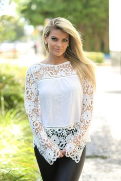 Off White Crochet Sleeves Top
