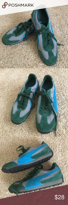 Puma 7.5 green turquoise suede gray mesh tie Stylish and fun Puma 7.5 green turquoise suede on gray mesh lace up athletic shoes. Puma Shoes Athletic Shoes