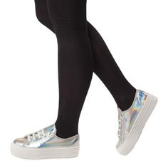 More magazine team the  holographic  schuh Creep with a slouchy jumper and  metallic pencil 22a90f416