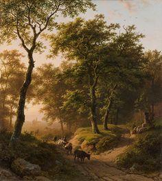 Koekkoek, Barend Cornelis (1803-1862) Boomrijk landschap bij ondergaande zon. Paneel 32,5x29,1 cm