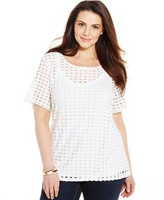 INC International Concepts Plus Size Perforated Tee - Tops - Plus Sizes - Macy's