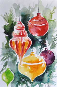 Original Watercolor Painting, Still Life Painting, Christmas Ornaments, Colorful Christmas Decorations Inch Watercolor Christmas Cards, Watercolor Cards, Watercolour Painting, Painting & Drawing, Watercolor Ideas, Noel Christmas, Christmas Crafts, Christmas Decorations, Christmas Ornaments