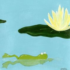 """Green Frog Art """"Lily Pad Pond II"""" 6""""x6"""" Canvas Gallery Wrapped Art - A101-63181VS"""