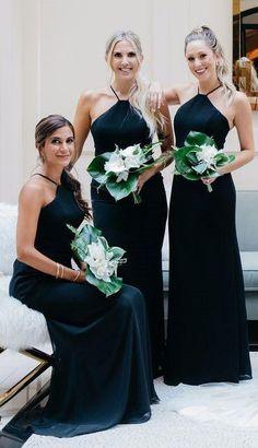 283890b7b83 Halter Dark Navy Blue Chiffon Elegant Long Sheath Bridesmaid Dresses