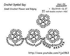 Crochet Flower Edging - Chart  ❥ 4U // hf