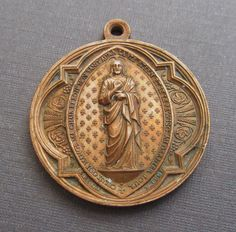 Antique Jesus Religious Medal French Three Sacraments Signed Penin Circa 1800s   SS 115