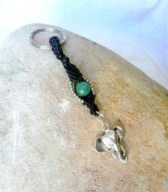 Porte-clés éléphant et perle semi-précieuse d'aventurine : Porte clés par stonanka