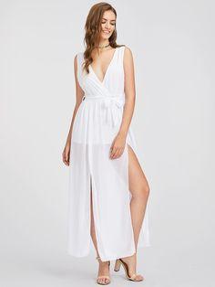 Shop Surplice Neckline Self Tie Split Dress online. SheIn offers Surplice  Neckline Self Tie Split Dress   more to fit your fashionable needs. 26cb2bd2227d