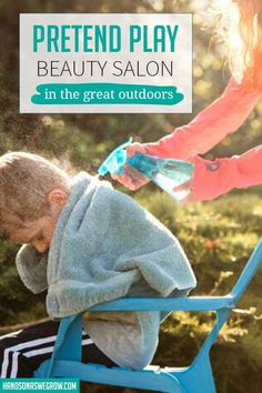 Set up a super simple outdoor pretend play beauty salon. Let your kids openly explore their creativity and imaginations while cooling off in the summer sun! Outdoor Activities For Toddlers, Sensory Activities, Hands On Activities, Free Activities, Toddler Books, Learning Through Play, Toddler Preschool, Pretend Play, Teaching Kids