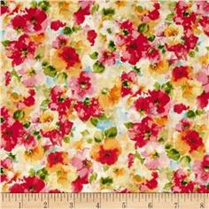 fabric.com - Kaufman London Calling Lawn Water Color Floral Bright