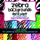 Zebra Backgrounds Digital Paper for Commercial, Educational, and Personal Use - Create fun and classy digital pages with my ultra funky zebra prints... $