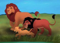 Aww look, my spoiled brat Chafua has grown up, and it looks like he's run into Kovu. Lion King Series, Lion King Story, Lion King 1, Lion King Fan Art, Lion King Movie, Simba Disney, Disney Cats, Disney Lion King, Disney And Dreamworks