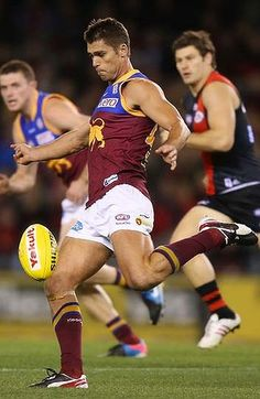 Simon Black of Brisbane Lions during Round 8 against Essendon. Sports Uniforms, Team Uniforms, Compression Underwear, Australian Football, Rugby Men, Beefy Men, Baseball Pants, Rugby Players, School Sports
