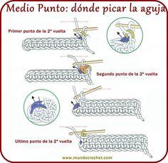 Crochet Cord, Tunisian Crochet, Love Crochet, Learn To Crochet, Beautiful Crochet, Crochet Diagram, Crochet Stitches Patterns, Crochet Motif, Crochet Basics