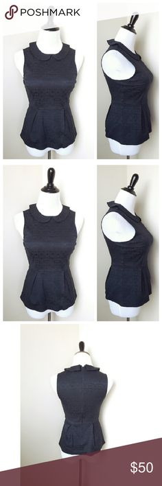 {j. crew} collared peplum top An adorable Peter pan collared peplum navy top from J. Crew Factory  Looks great tucked into a skirt or worn with jeans and a blazer for work!  Brand new with tags Retails $75 Size 0 J. Crew Tops Tank Tops