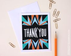 Thank you card boxes set, modern thank you cards, $18.00 by seriouslyshannon on Etsy