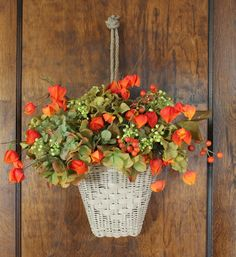 Ranger Autumn Welcome Chinese Lanterns Plant, Fall Arrangements, Front Door Decor, Fall Wreaths, Seasonal Decor, Holiday Decorations, Table Decorations, Fall Crafts, Fall Halloween