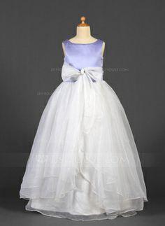 ba8b4a0d07b Ball Gown Floor-length Flower Girl Dress - Organza Satin Sleeveless Scoop  Neck With Sash Bow(s)