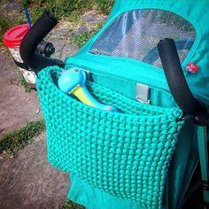 It's always so hard to find time to do something for myself. Finally made a stroller organizer of turquoise t-shirt yarn that matches perfectly our ezzo stroller and fits lots of stuff! У меня все время не хватает времени сделать что-то для себя. И вот, наконец-то, связала органайзер для нашей бирюзовой коляски, совпадение цвета идеально! #knitknotkiev #crochet #tshirtyarn #zpagetti #zpagettiyarn #recycle #strollerorganizer #eurocart #turquoise #babyfashion #babystuff