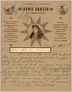 """In a letter to President William McKinley dated April 5, 1898, famed sharpshooter Annie Oakley offered up an interesting service. The United States was on the cusp of a war with Spain. In case a war was to break out, Oakley offered the government the service and expertise of 50 """"lady sharpshooters"""" who would also provide their own arms and ammunition. McKinley did not accept her offer."""