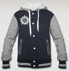 Supernatural Varsity Jacket. I NEED IT. But would rather have 'Salt and Burn' on the back.