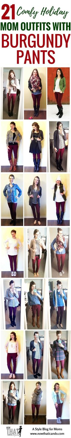 Try something new in your #momoutfits this #holiday season... #burgundy or maroon pants are gorgeous and easy to #style in so many mom-friendly but chic ways for #Thanksgiving, holiday get togethers, #Christmas parties... even #NewYearsEve! Here are 21 comfortable and fashionable ways to wear burgundy skinny pants in cold weather or at #home. This blog is full of #style #outfit #ideas for #stayathome #moms! Love this #cozy time of year!