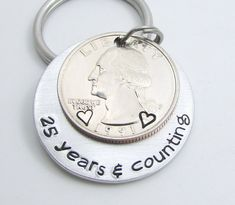 Mens Personalized Anniversary Gift Keychain Hand Stamped 25 Years Counting 25th For Men