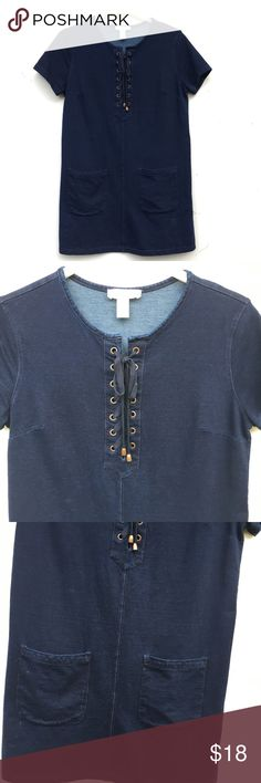 Lace Up Denim Dress with Pockets Adorable dark wash denim dress. Laces up in the front, and has pockets. Dresses Mini